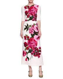 Half-Sleeve Floral-Print Midi Dress, White/Pink