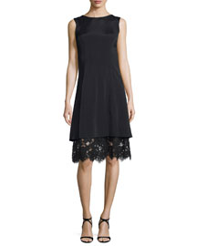 Sleeveless Satin Dress w/Lace Underlay, Black