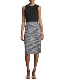 Sleeveless Boucle Tweed Combo Dress, Black/White