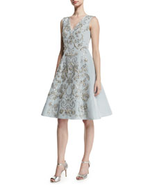 Sequin-Embroidered Silk Faille Cocktail Dress, Ice Blue