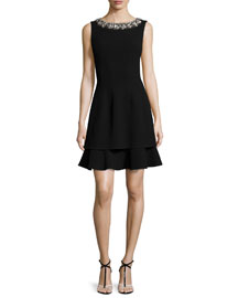 Sleeveless Stretch-Wool Crepe Dress w/Embroidered Neckline, Navy