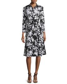 Bracelet-Sleeve Rosebush-Print Shirtdress, Black/White