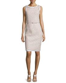 Sleeveless Tinsel Tweed Sheath Dress, Pink/Gray