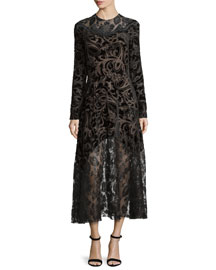 Long-Sleeve Devoré & Lace Dress, Black (Noir)
