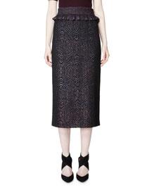 Glitter Swirl Jacquard Midi Skirt, Brass/Burgundy