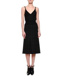 Pleated Plaid Spaghetti-Strap Dress, Black/Gray