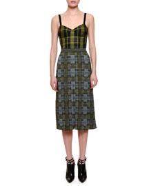 Sleeveless Plaid Combo Midi Dress, Yellow/Green