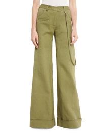 Wide-Leg Cuffed Stretch-Woven Pants, Army Green