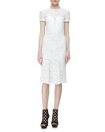 Short-Sleeve Lace Illusion Dress, White