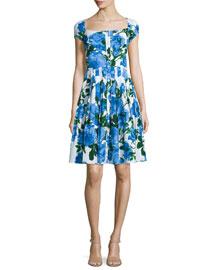 Lauren Floral-Print Cap-Sleeve Dress, Cobalt