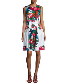 Rachel Floral-Print Sleeveless Dress, White