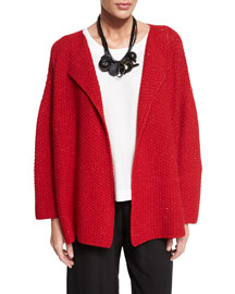 Knit Cashmere-Blend Cardigan Sweater, Ruby