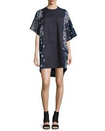 Bandana-Print Asymmetric Dress, Navy