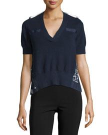 V-Neck Short-Sleeve Knit Sweater with Bandana-Print Back, Navy