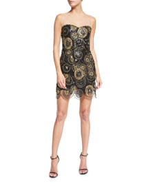 Illusion Sequined Tulle Cocktail Dress, Black