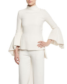 Mock-Neck Bell-Sleeve Silk Top, Ivory