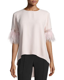 Feather-Fringed High-Low Top