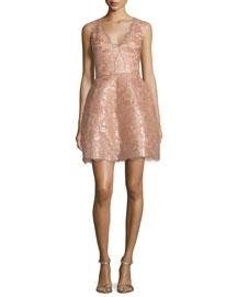 Sleeveless Metallic Chantilly Lace Cocktail Dress, Rose Gold
