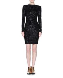 Urban Glitter-Print Long-Sleeve Dress, Black