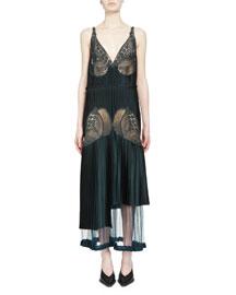 Pleated Lace-Trimmed Midi Dress, Dark Green