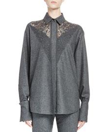 Flannel Lace-Yoke Button-Down Top, Gray