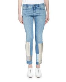 Denim Foil-Hem Skinny Jeans