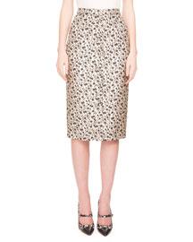 Floral-Print Jacquard Pencil Skirt, Black/White