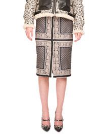Paneled Paisley Jacquard Pencil Skirt, Navy