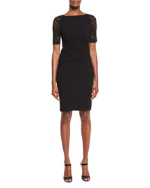 Lounge Lace-Sleeve Wrap-Front Sheath Dress, Black