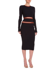 Round-Neck Cutout-Front Ribbed Dress, Navy/Copper