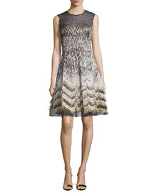 Sleeveless Metallic Jacquard Cocktail Dress, Black/Gold