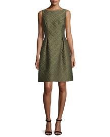Betsy Check-Matelasse Full-Skirt Dress, Olive