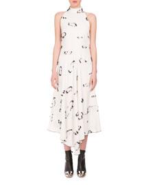 Sleeveless Eyelash Midi Tank Dress, White/Black
