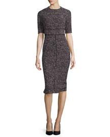 Patterned Jacquard Sheath Dress, Burgundy