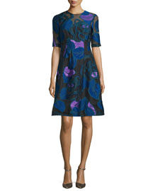 Linear Leaf Fil Coupe Dress, Blue