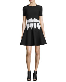 Jewel-Neck Dress with Graphic Flame Waist, Black/White