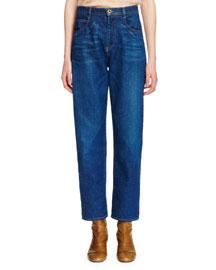 Five-Pocket Straight-Leg Jeans, Blue
