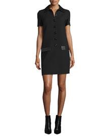 Short-Sleeve Leather-Trim Shirtdress, Black