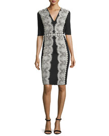 Lace-Embroidered Jersey Cocktail Dress, Black/Silver
