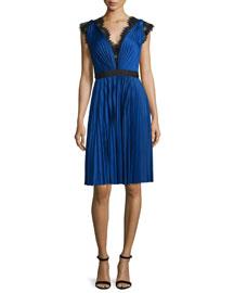 Pleated Cap-Sleeve Cocktail Dress, Cobalt