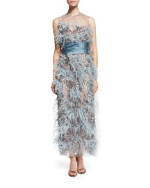 Ostrich-Feather Sleeveless Illusion Gown, Blue