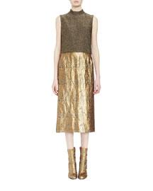 Diman Mock-Neck Brocade Combo Dress, Gold