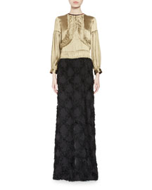Dunand Bracelet-Sleeve Fringed Combo Gown, Gold