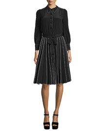 Long-Sleeve Pleated Crepe de Chine Shirtdress, Black