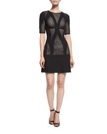 Half-Sleeve Mesh Combo Dress, Black