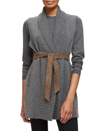 Knit Cashmere Vest w/Leather Belt, Anthracite/Brown