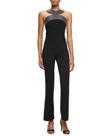 Massai-Stitched Sleeveless Jumpsuit, Black