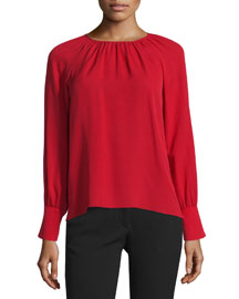 Pleated Long-Sleeve Blouse, Red