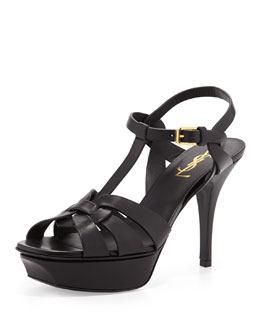 "Yves Saint Laurent Tribute Leather Sandal, 4"" Heel"