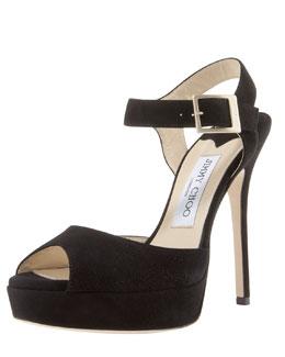 Jimmy Choo Linda Suede Ankle-Wrap Sandal